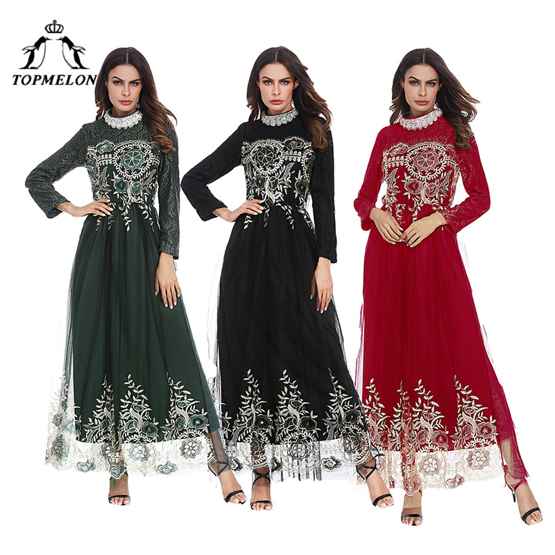 ee5b9188bf009 TOPMELON Turkey Abaya Muslim Dress Floral Mesh Double Layer Maxi Dresses  for Women Fashion Hijab Clothing Black Green Red