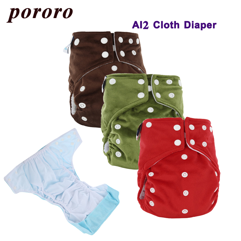 [Pororo] 2017 Reusable AI2 Solid Minky Suit 0-2 Year Baby Cloth Diaper 2pcs 3 Layer Diaper Insert Bamboo Fabric Jinobaby Nappy