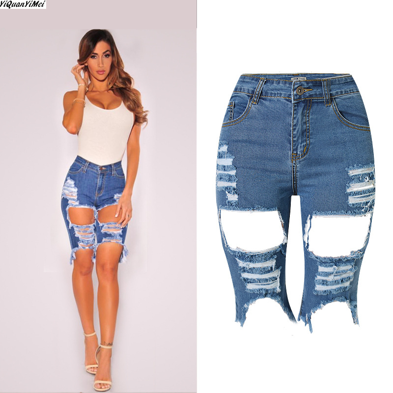 SZYMGS ElastiRipped Knee Length jean Pants ripped Shorts jeans for ...