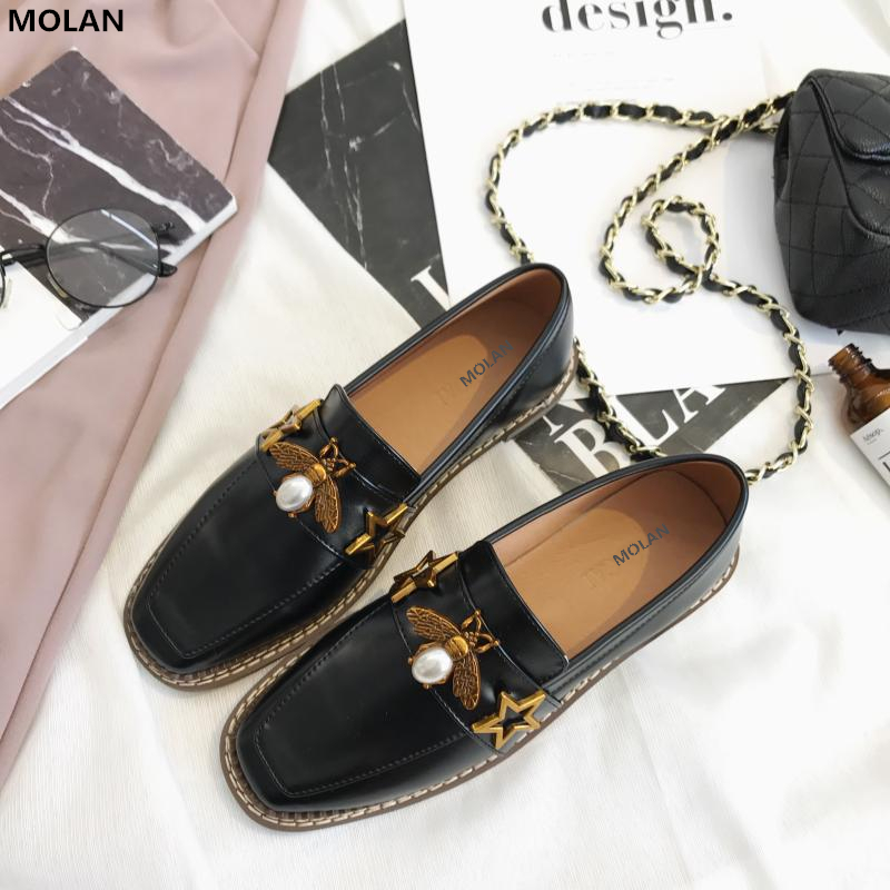MOLAN Brand 2018 Spring Superstar Little Metal Pearl Bee Loafers Square Toe Slip On Pigskin Leather Flat Shoes Woman Wood Bottom adidas x pharrell little kids superstar supercolor