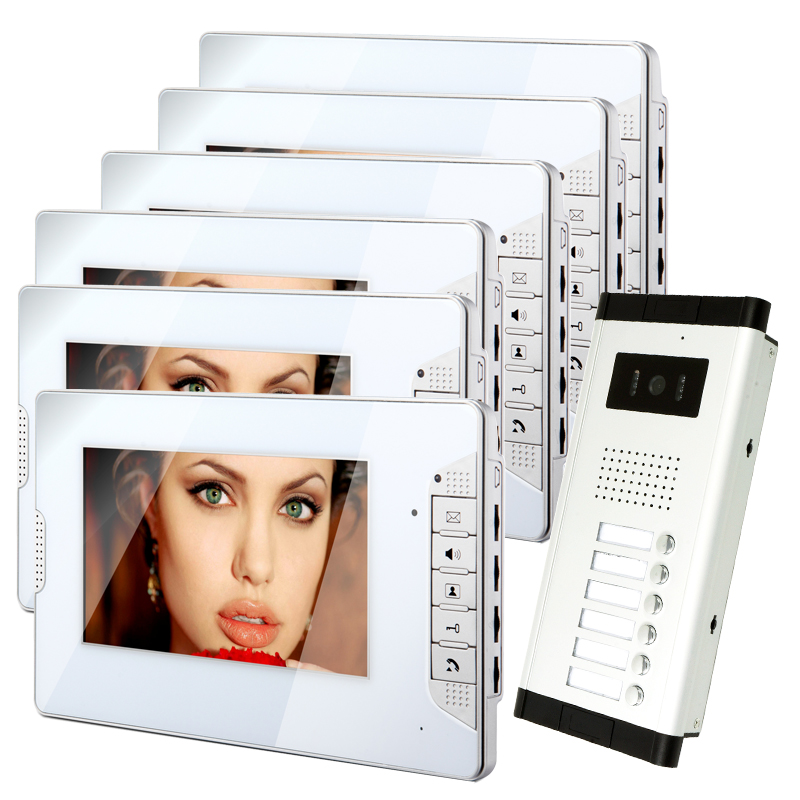 FREE SHIPPING Apartment 7 LCD Color Video Door Phone Intercom System 6 White Monitors + Outdoor Camera for 6 Family Apartments
