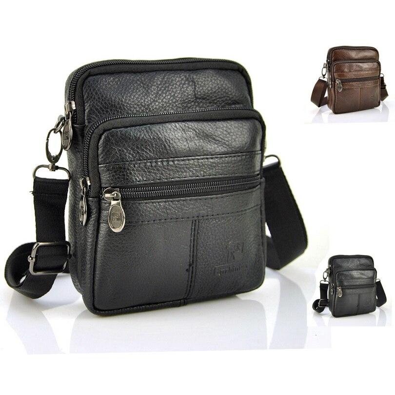 100% Genuine Real Cow Leather Classic Zip Small Bag Men Women Shoulder Handbag Casual Travel Pouch Purse Messenger Satchel