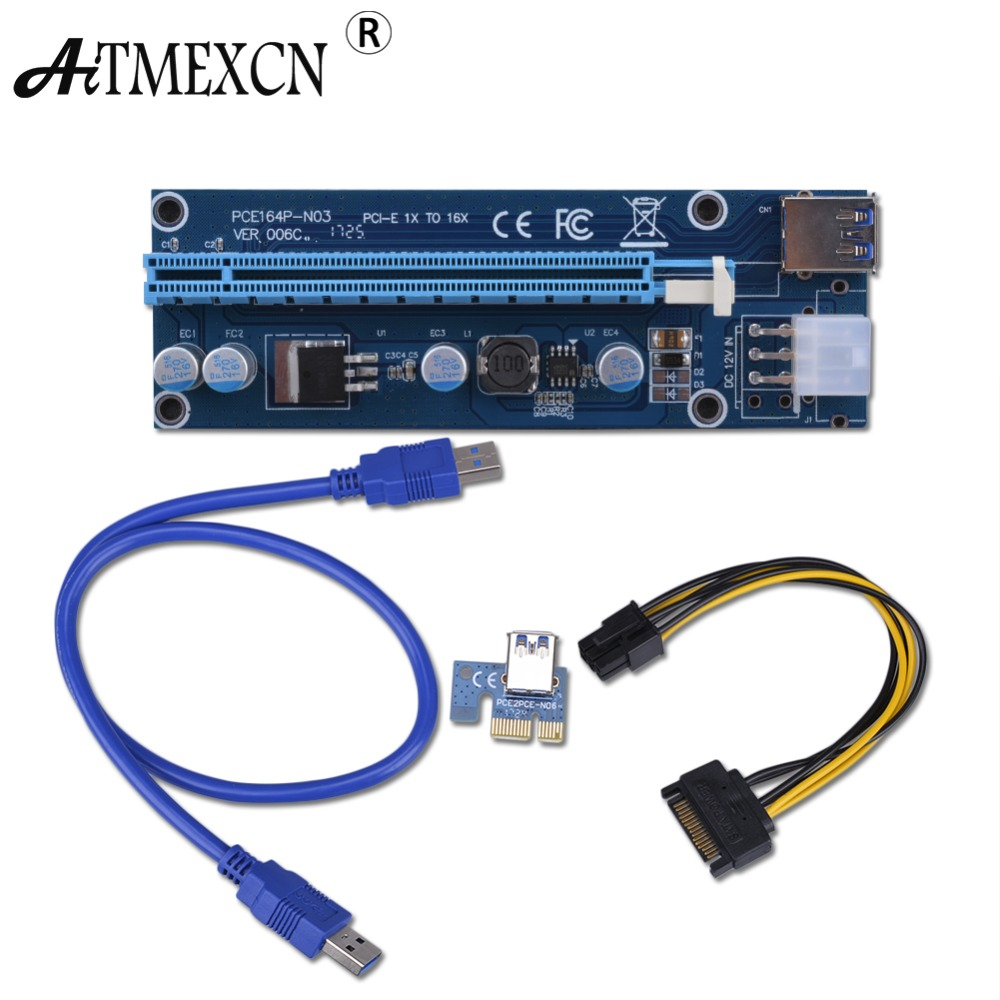 006C PCIe PCI-E PCI Express Riser Card 1x to 16x USB 3.0 Cable Adapter SATA to 6Pin IDE Molex 6 pin for Bitcoin Mining кабель orient c391 pci express video 2x4pin 6pin