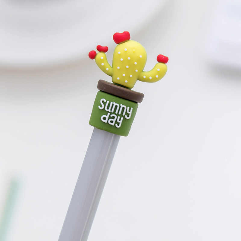 1 قطعة/4 قطعة الكورية القرطاسية لطيف الصبار القلم الإعلان هلام القلم المدرسة الأزياء مكتب Kawaii امدادات
