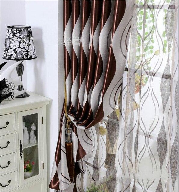 eenvoudige moderne streep verduisterende stof schaduw gordijnen voor woonkamer of sheer tulle panel gordijn voor slaapkamer