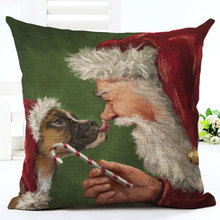New Cartoon Santa Claus Square Linen Pillowcase Happy New Year Gift 2019  Merry Christmas Decorations for Home Christmas Tree
