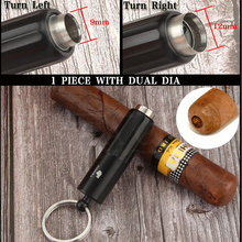 COHIBA Travel Cigar Accessories Stainless Steel Double Diameter Punch Metal Sharp Cutter Puncher Portable For Cigars