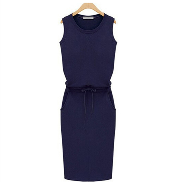 Summer Women Dress Fashion Solid Cotton Slim Fit Pockets Pencil Dresses Work Sleeveless Sexy Casual Dress Robe Femme J2218