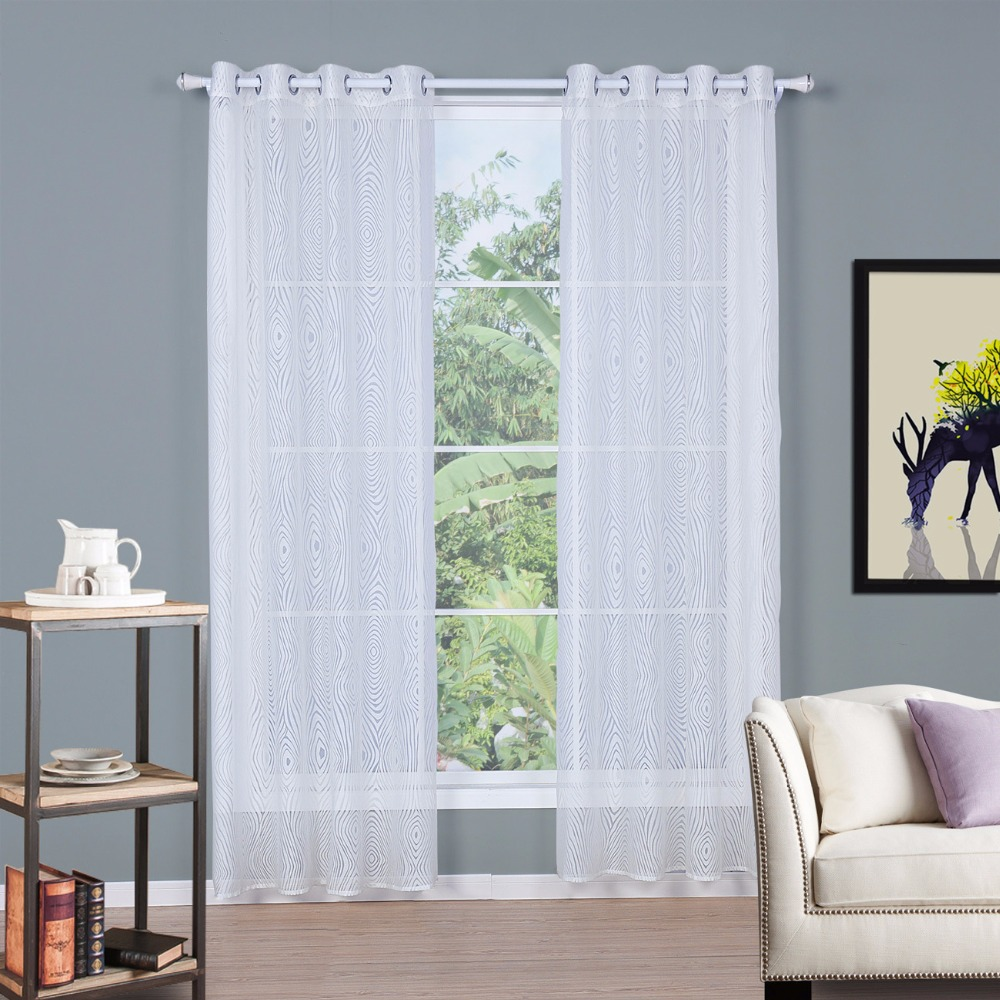 SunnyRain 1 Piece White Burnout Geometric Sheer Curtains For Living Room  Window Curtain For Bedroom