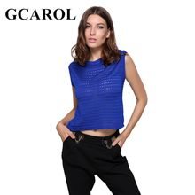 GCAROL New Arrival Knitted Crop Tops Hollow Out Sleeveless Sweater Orange Sapphire Knitting Pullover For Spring Autumn Winter(China)