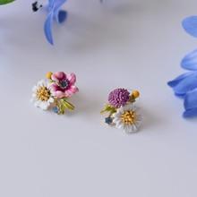 Francia Esmalte Esmalte Pendiente de la Flor Para Las Mujeres Estilo de La Flor Pendientes de Cristal de Flores Único Noble Joyería Prom Party