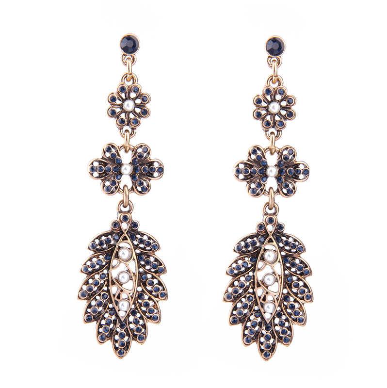 Заявление Ювелирные Изделия Синий Кристалл Цветок Длинные Серьги Для Женщин