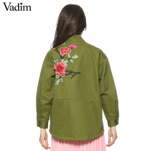 Image 3 - Vadim women floral embroidery bomber jacket patched rivet design loose flight jackets casual coat punk outwear capa CT1285