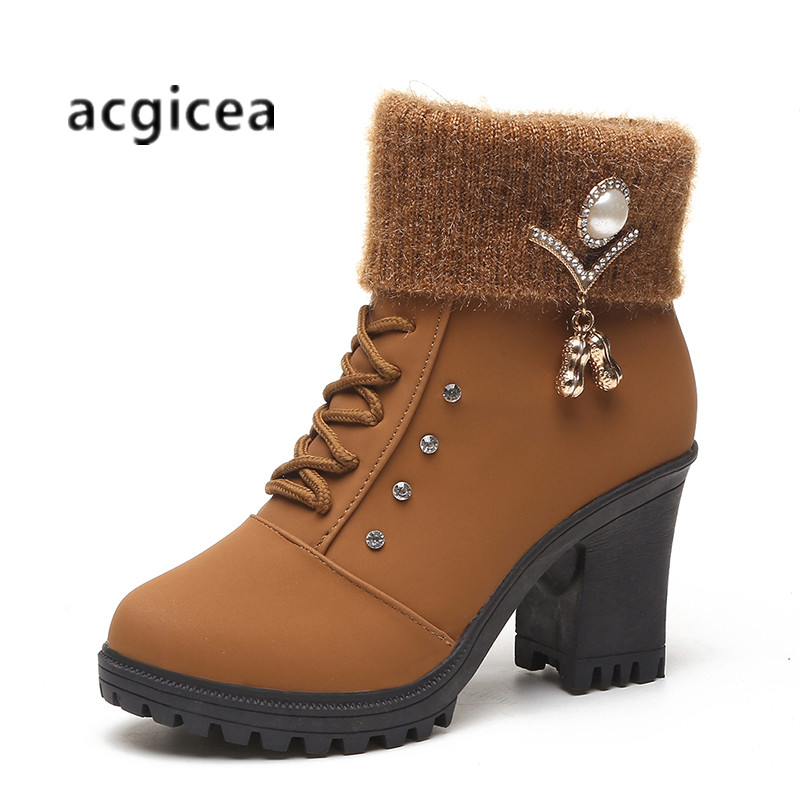 2018 winter new thick with round head women's boots solid color wild warm and comfortable Martin boots n188