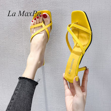 2019 New Summer Sandals Slippers Thin High Heels Flip Flop Hollow Women Shoes Sexy Pumps Slippers 7cm Yellow Size 34 Slides byqdy fashion women summer slippers sexy buckle thin heels women slippers sandals slides shoes size 35 40 big promotion black