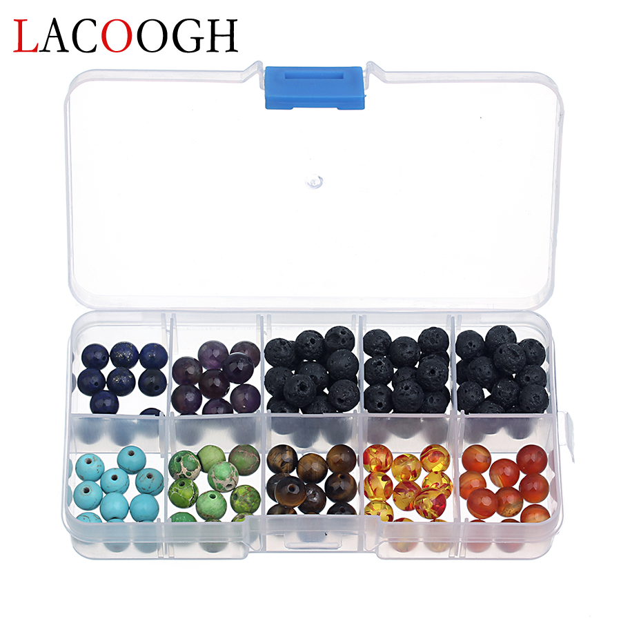 Fashion 1 Boxes Chakra Beads Sets 8mm Lava Natural Stone Crystal Loose Space Beads for Bracelets DIY Handmade Jewelry Findings crystal heart shape crystal fancy stone point back glass stone for diy jewelry accessory 8mm 10mm12mm 14mm 16mm 18mm 23mm
