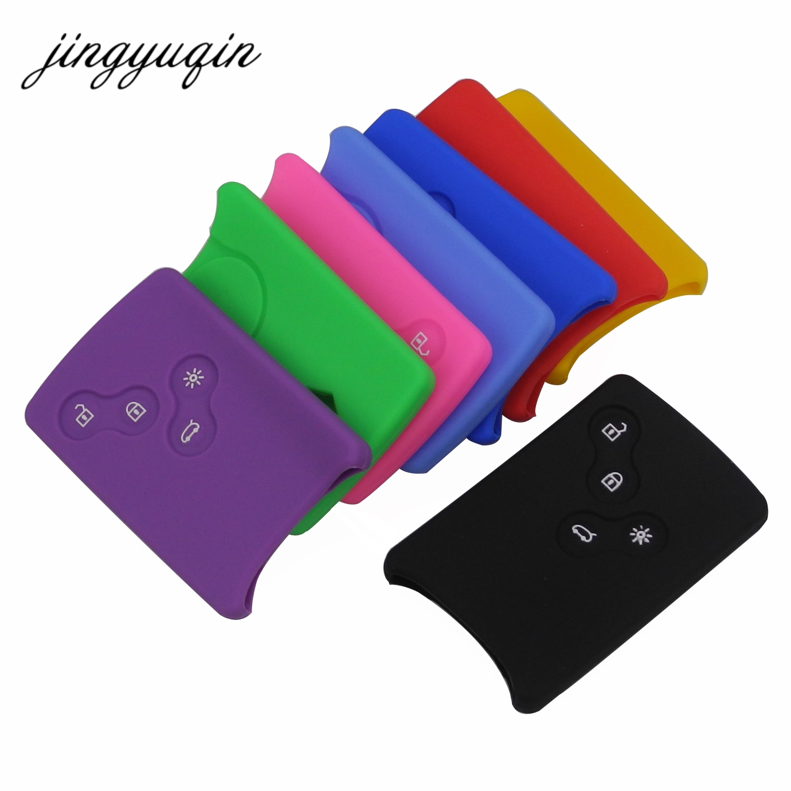 jingyuqin 4 Button Car key Silicone Cover Protector font b Holder b font for Renault Clio
