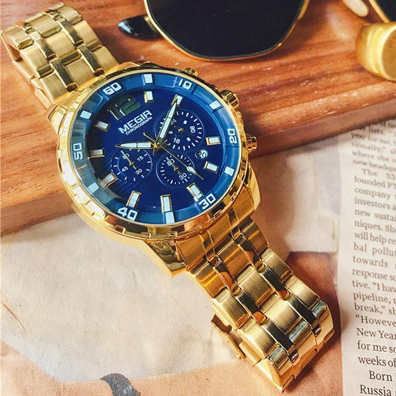 Megir marque de luxe Sport hommes montres bracelet en acier inoxydable chronographe montre à Quartz militaire horloge d'affaires Relogios Masculinos
