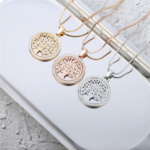 Hot Tree of Life Crystal Round Small Pendant Necklace Gold Silver Colors Bijoux Collier Elegant Women Jewelry Gifts Dropshipping 4
