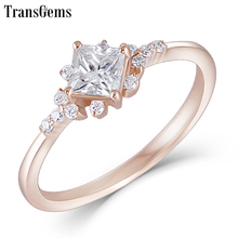 TransGems 14K Rose Gold 4mm F Color Princess Cut Moissanite Engagement Ring Dailywear Wedding Fine Jewelry