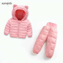 2019  Winter Kids Clothes Set Baby Warm Hooded Parkas + Pants 2 Pcs Boys and Girls Clothes  Children Outfits Clothing Sets autumn winter kids boys clothing set hooded letter printed thick fleece red black hoodies and pants children christmas clothes