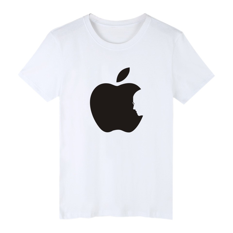 Hot Sale Apple Steve Jobs 4-color Cotton TShirt Plus Size Short Sleeve T Shirts in Fashion Biting Apple Funny T-shirt XXS 4XL 1