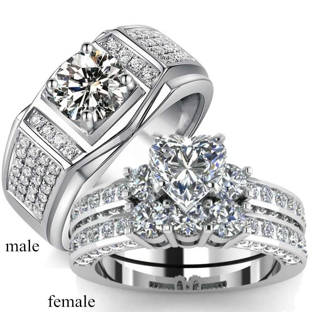 Simple Cubic Zirconia Wedding Couples Rings Bijouterie For Man Or Woman Jewelry Silver Color CZ Engagement Ring For Lovers