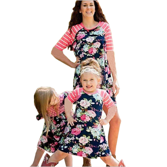 9f2b034b266 Mommy Me Family Clothes Matching Outfits Mother Daughter Print Dresses  Patchwork Mom Daughter Kids Plus Size Parent Child Dress