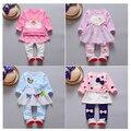 Venda quente Novo 2016 Outono do bebê roupas de alta qualidade conjuntos de roupas de bebê meninas do estilo O-pescoço manga cheia de moda A047