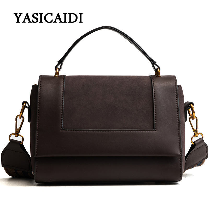 Vintage Women Crossbody Bag High Quality PU Leather Messenger Bag Female Small Tote Bag Black Leather Casual top-handle bags