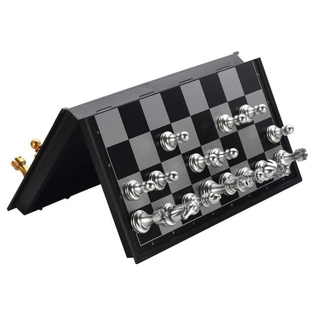 Jeu d'échecs magnétique pliable pour enfants ou adultes, 25x25cm, jeu d'échecs en Or et argent 3