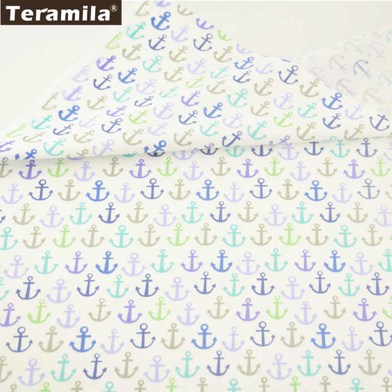 Teramila Cotton Fabric Printed Colored Sea Anchor Designs High Quality Twill Material Quiting Patchwork Home Textile Bedding