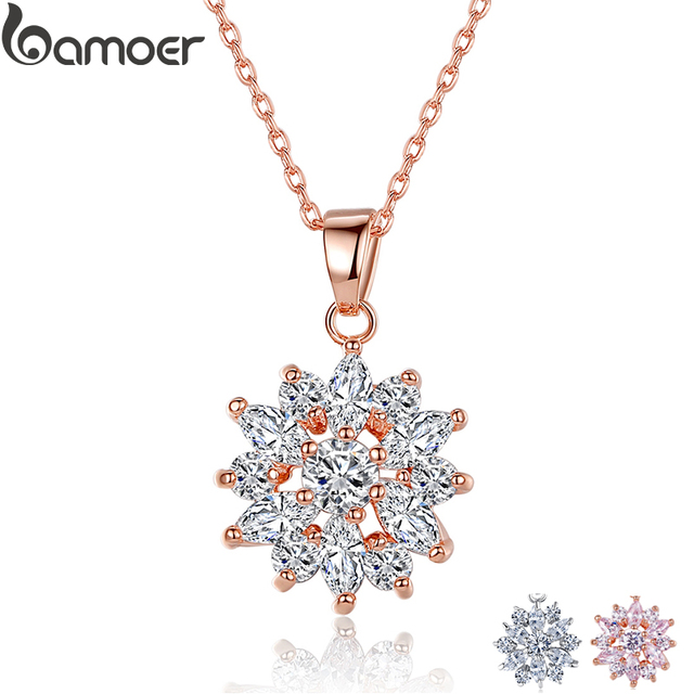 BAMOER Hot Sell Gold Color Flower Necklaces Pendants with High Quality Cubic Zir