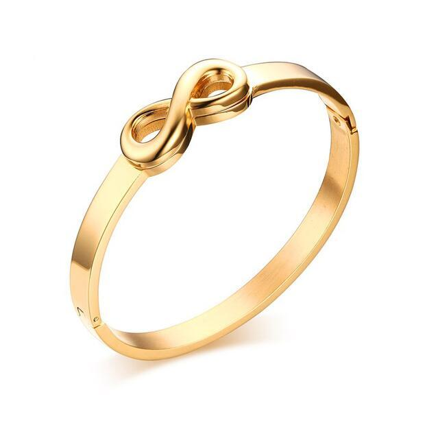Girls Trendy Infinity Bracelets Bangle for Women Gold Plated Stainless Steel Bow Cuff Bracelets