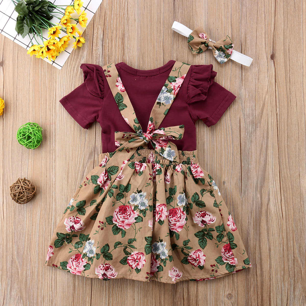 Cute Baby Girl Romper Dress Yellow Floral Baby Girl Clothes Baby Girl Outfit