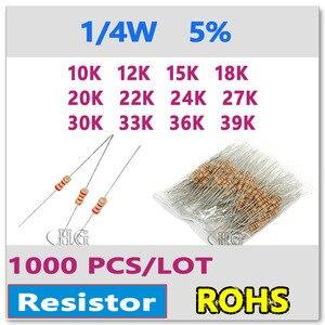 JASNPROSMA 1000 PÇS/LOTE 5% 1/4W 20 18 15 12 10K K K K K 33 30 27 24 22K K K K K K 39 36 OHM de filme de carbono K DIP alta qualidade Novo Resistor