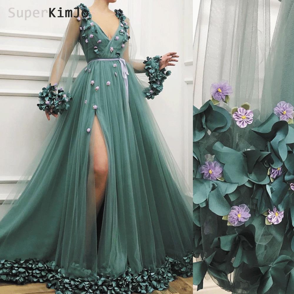 SuperKimJo Flare Sleeve   Prom     Dresses   2019 Robe De Soiree Deep V Neck Handmade Flowers Elegant   Prom   Gown Vestidos De Gala