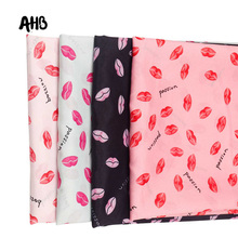 AHB Polyester Fabric Thin Red Lips Cloth DIY Valentines Day Dress Clothes Shawl Soft Home Textile Curtain Materials