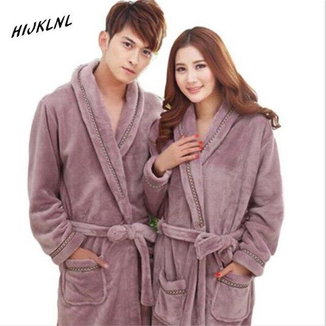 Autumn Winter Women Thickening Cotton Flannel Pajamas Couples Bathrobe Coral Sleece Warm Sleepwear Lovers Bath Robes LJ3256