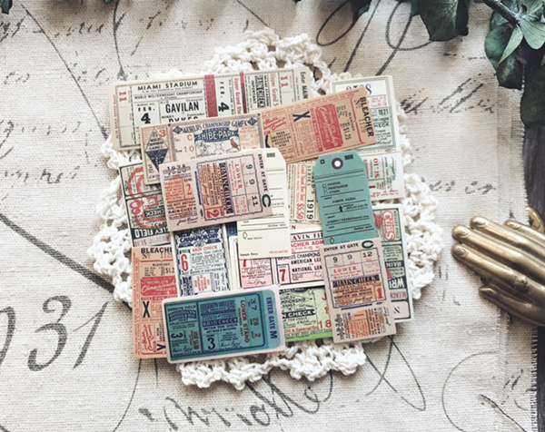 22Pcs//pack Vintage ticket stickers scrapbook DIY diary albums notebook decor ZF