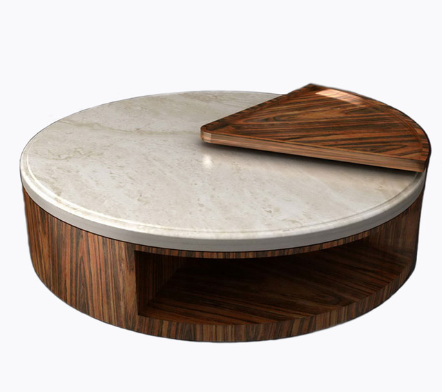 round design natural marble top wooden coffee table small side corner table modern round center table for living room