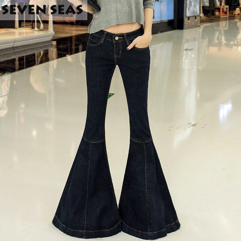 Fashion New Vintage Super Flare   Jeans   Sexy Low Rise   Jeans   Femme Plus Size 5XL Hippie Wide Leg Denim Pants Women