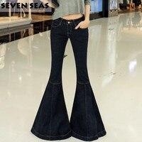 Fashion nieuwe vintage super flare jeans sexy laagbouw jeans femme plus size 5xl hippie wijde pijpen denim broek vrouwen