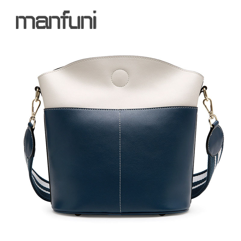 Sac à bandoulière femmes en cuir véritable seau sacs à bandoulière pour les femmes mode Patchwork petit sac Messenger femme Bolsa Feminina