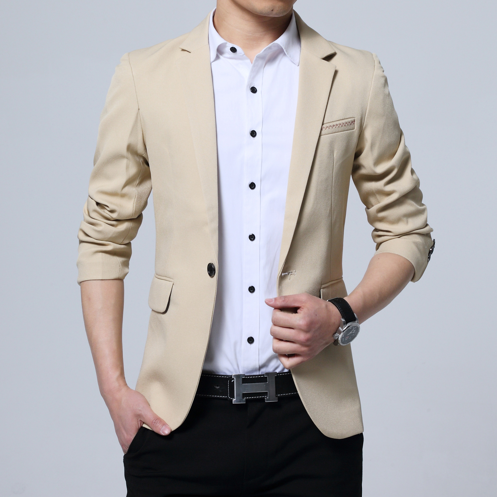 New Spring 2019 Fashion Leisure Suit Men's Cultivate One's Morality In British Youth Pure Color Suit
