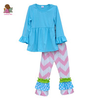 Wholesale Baby Girl Clothes Set Solid Blue Pullover Pink Striped Pants Ruffle Patchwork leg openning 2016 Kids Fashion F026