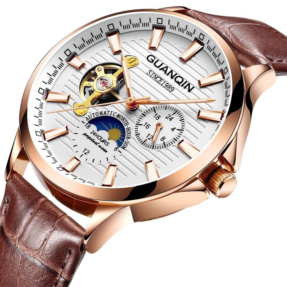 Di fascia alta Top Brand orologio Meccanico GUANQIN 2018 Tourbillon Orologio Automatico Degli Uomini Della Cinghia di Cuoio Moon phase 24 ore mani Luminose