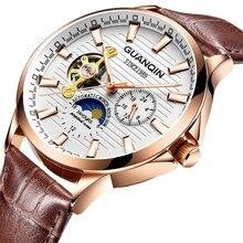 High end Механические часы Лидирующий бренд GUANQIN 2018 Tourbillon автоматические часы мужские кожаный ремешок Moon phase 24 часов светящиеся стрелки