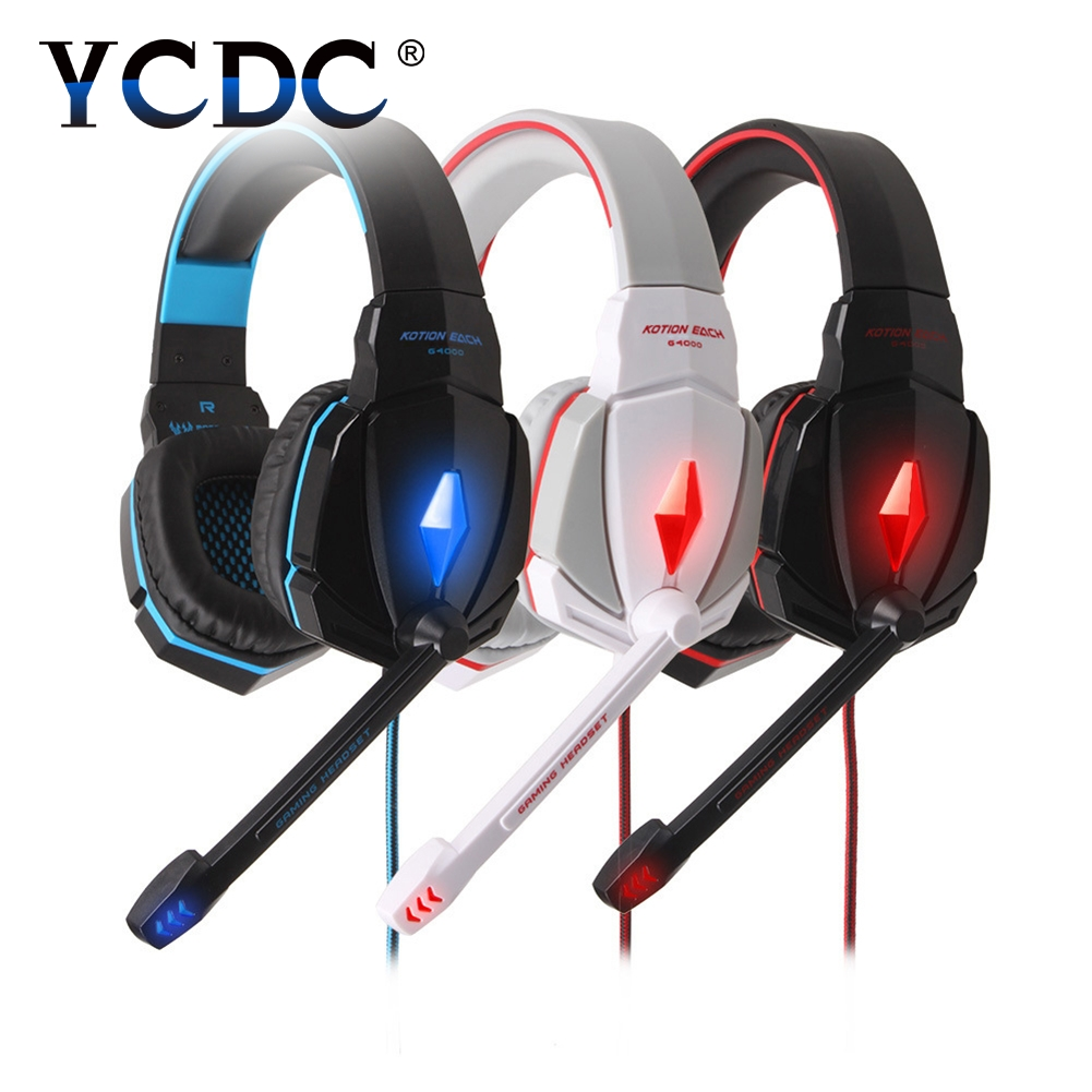 YCDC Wired noise canceling Headband gaming headset gamer dual 3.5mm plug USB for LED light for PS4 fone de ouvido with Mic