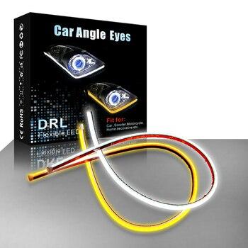 AOTOINK 2pcs Flexible DRL LED Daytime Running Light Soft Tube Guide Angle Eyes Strip Auto Lamp for Car Headlight Assembly EJ